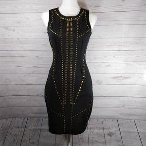 Nicki Minaj black bodycon dress gold studded